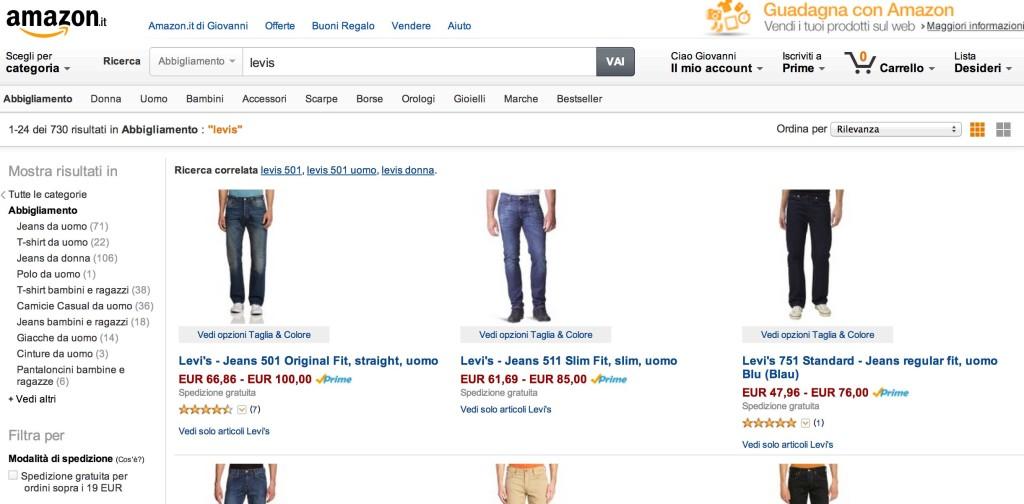 Levi Strauss & Co venduto solo dal canale Amazon ufficiale