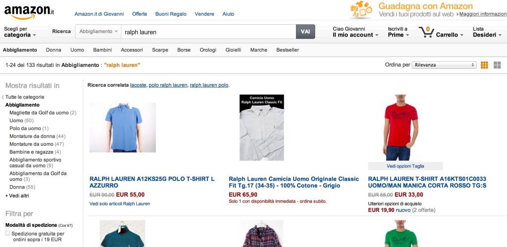 Ralph Lauren venduta su Amazon da più rivenditori non ufficiali