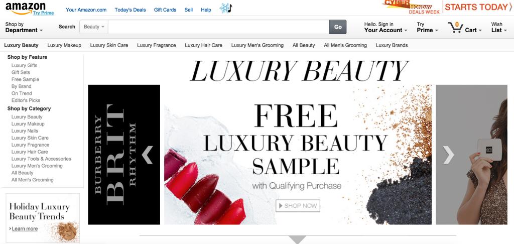 Amazon sezione cosmetici di lusso