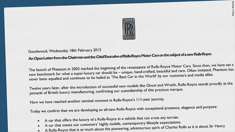 Rolls Royce annuncio suv