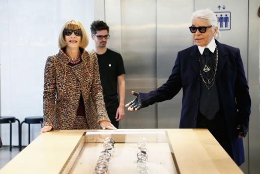 Anna Wintour e Karl Lagerfeld  alla presentazione Apple Watch presso Colette Parigi