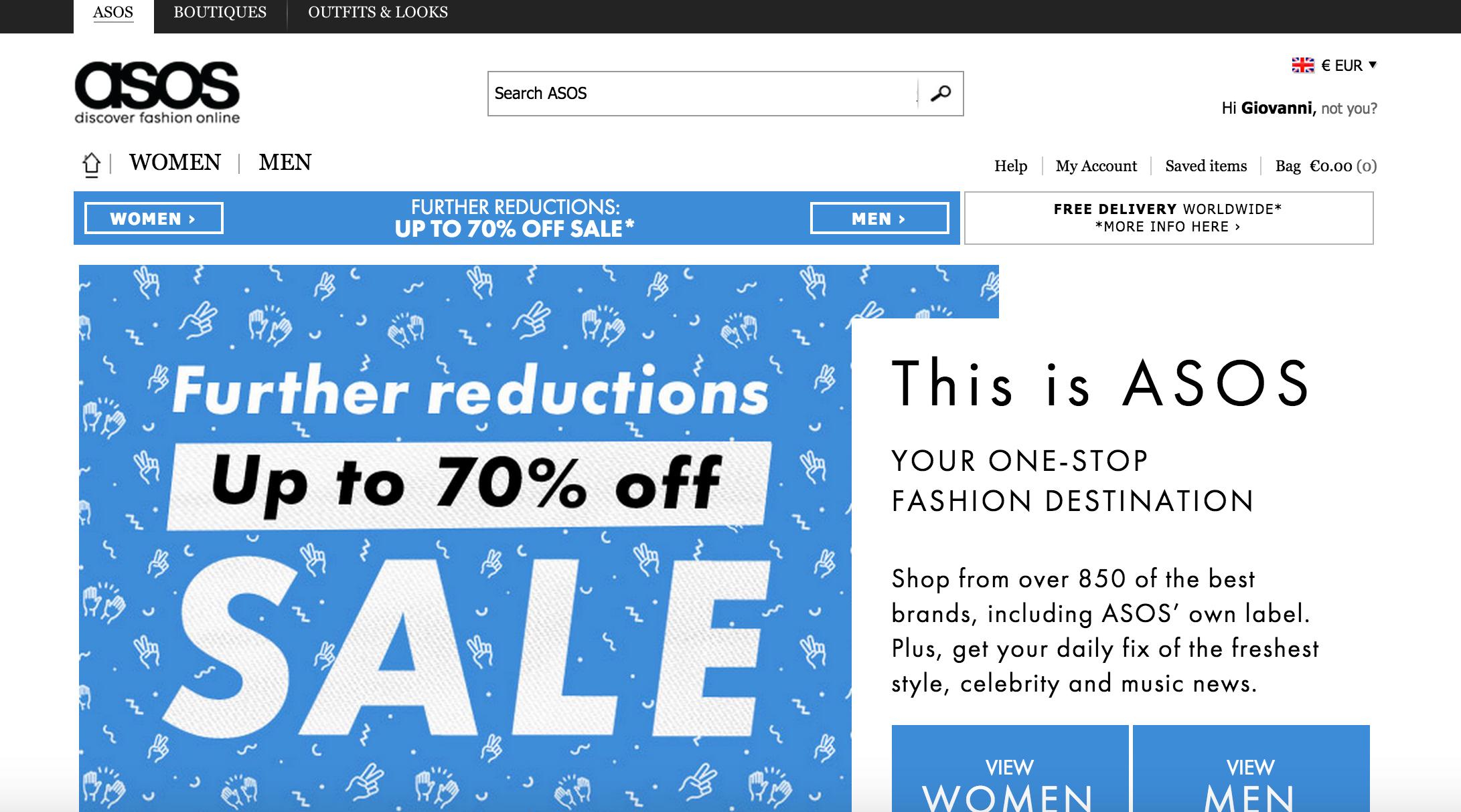 Asos UK Market Leader servizio E-commerce