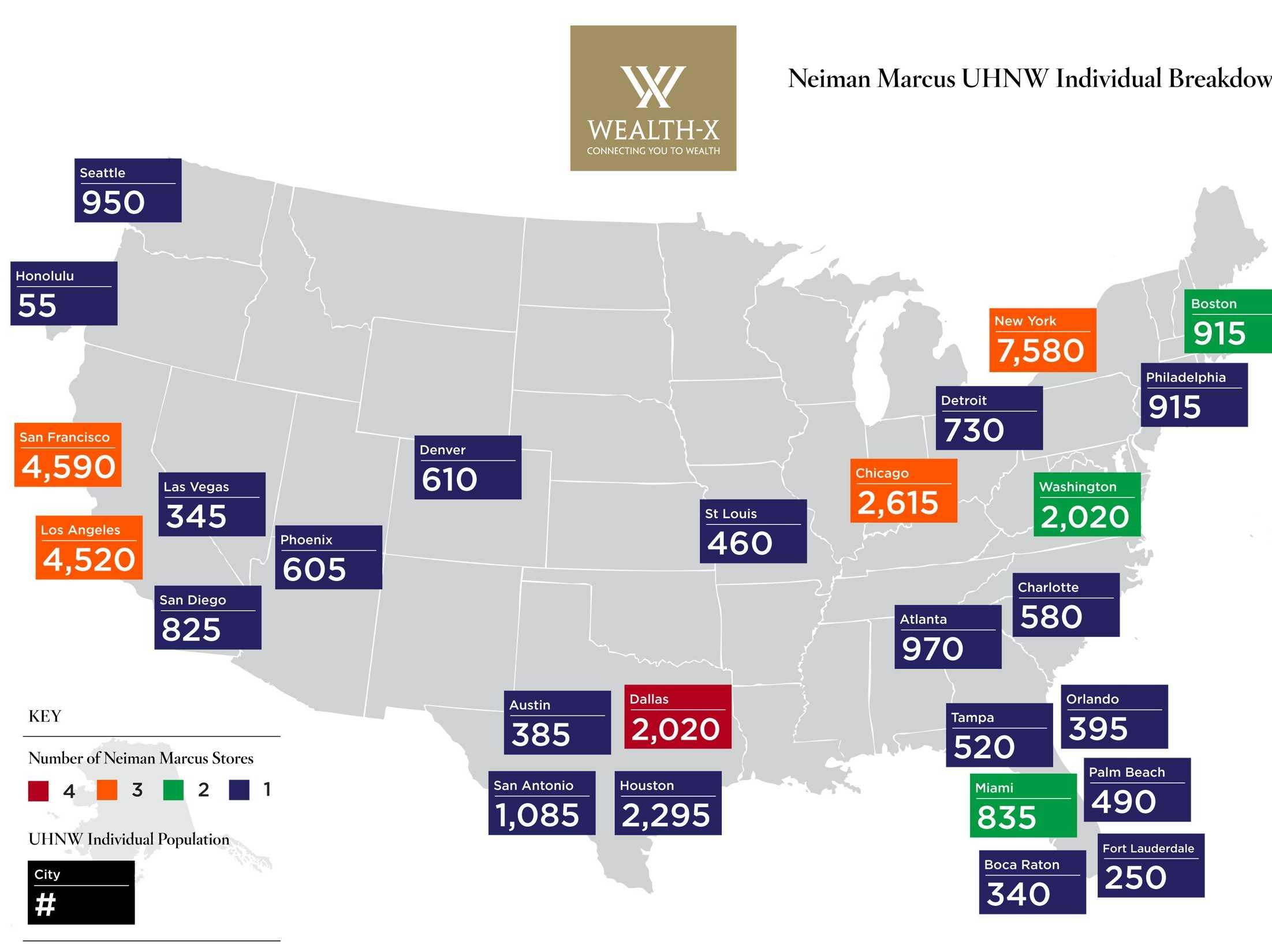 Neiman Marcus stores e concentrazione UHNWI
