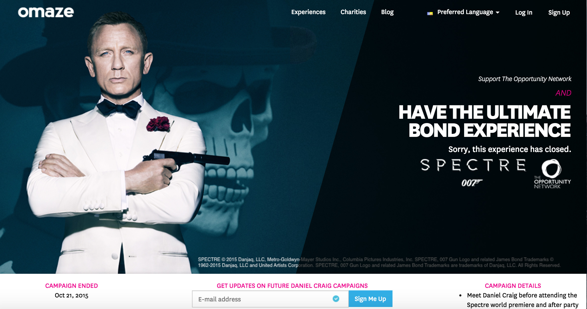 Opportunity Network Lottery meet Daniel Craig