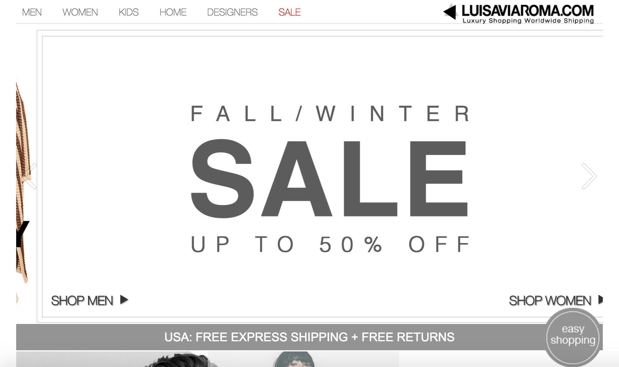 LuisaViaRoma promozioni Stati Uniti