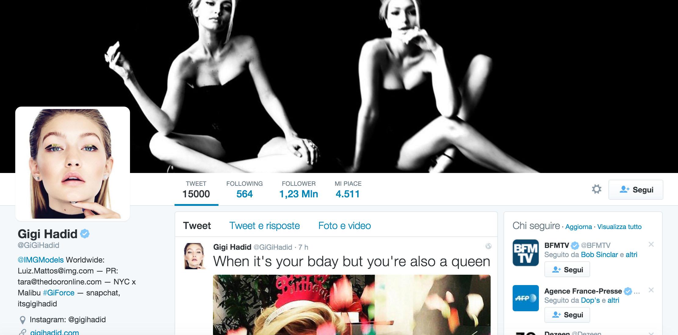 Gigi Hadid twitter