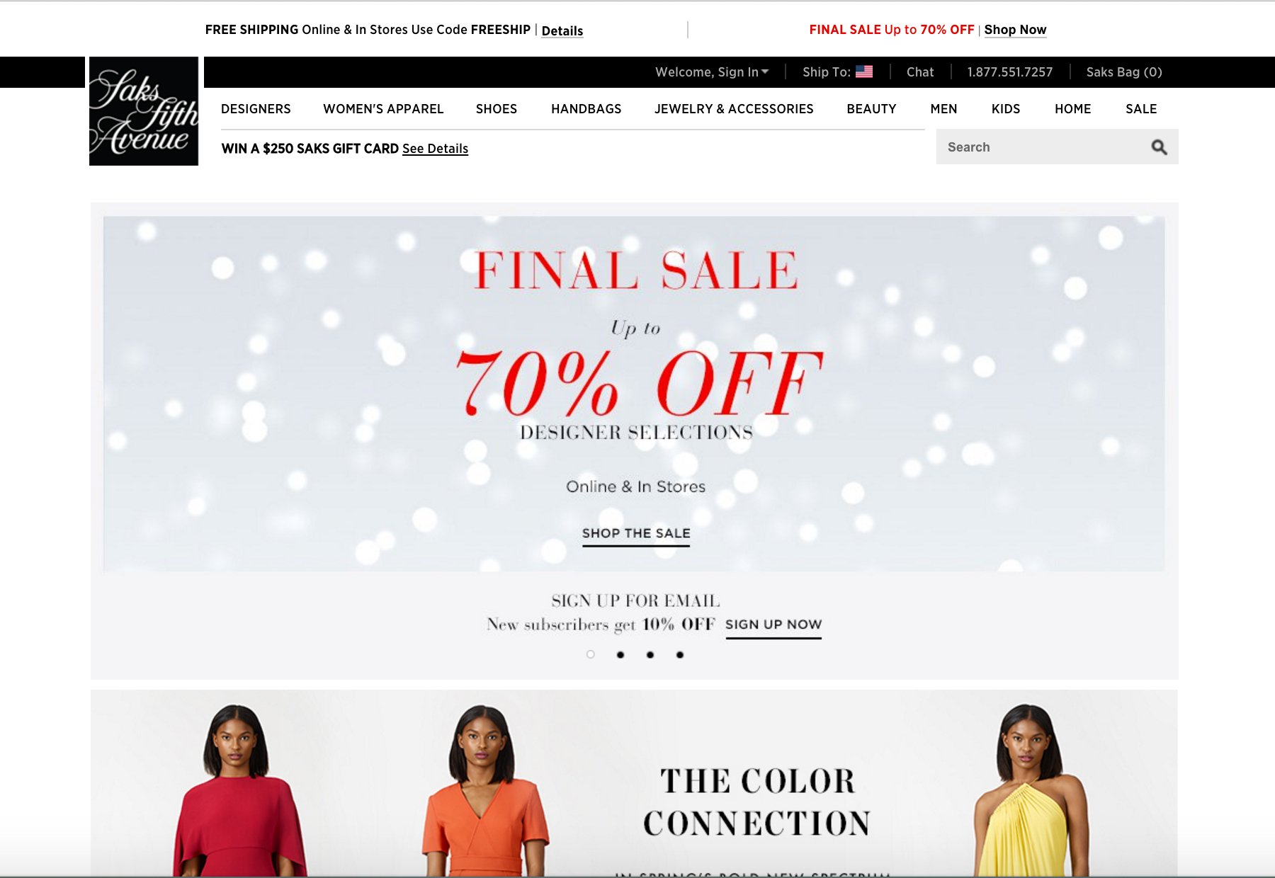 Saks Fifth Avenue ecommerce