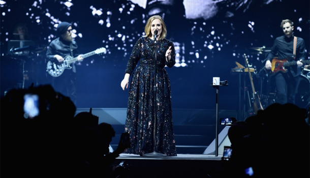 Adele tour in Burberry