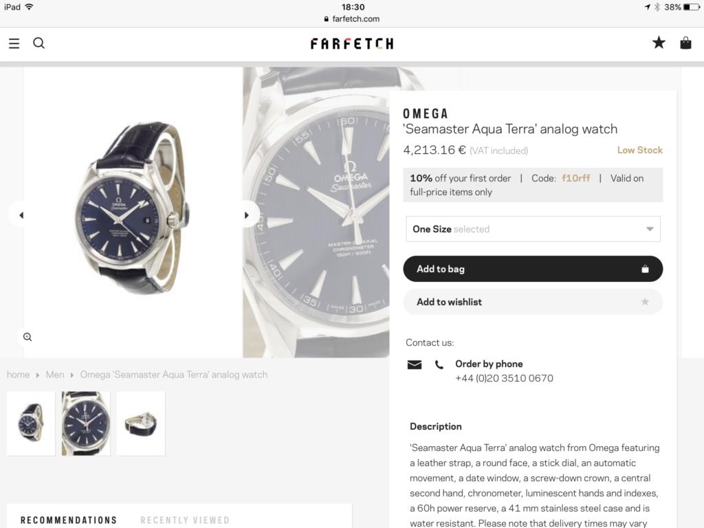 Farfetch, orologi marketplace lusso